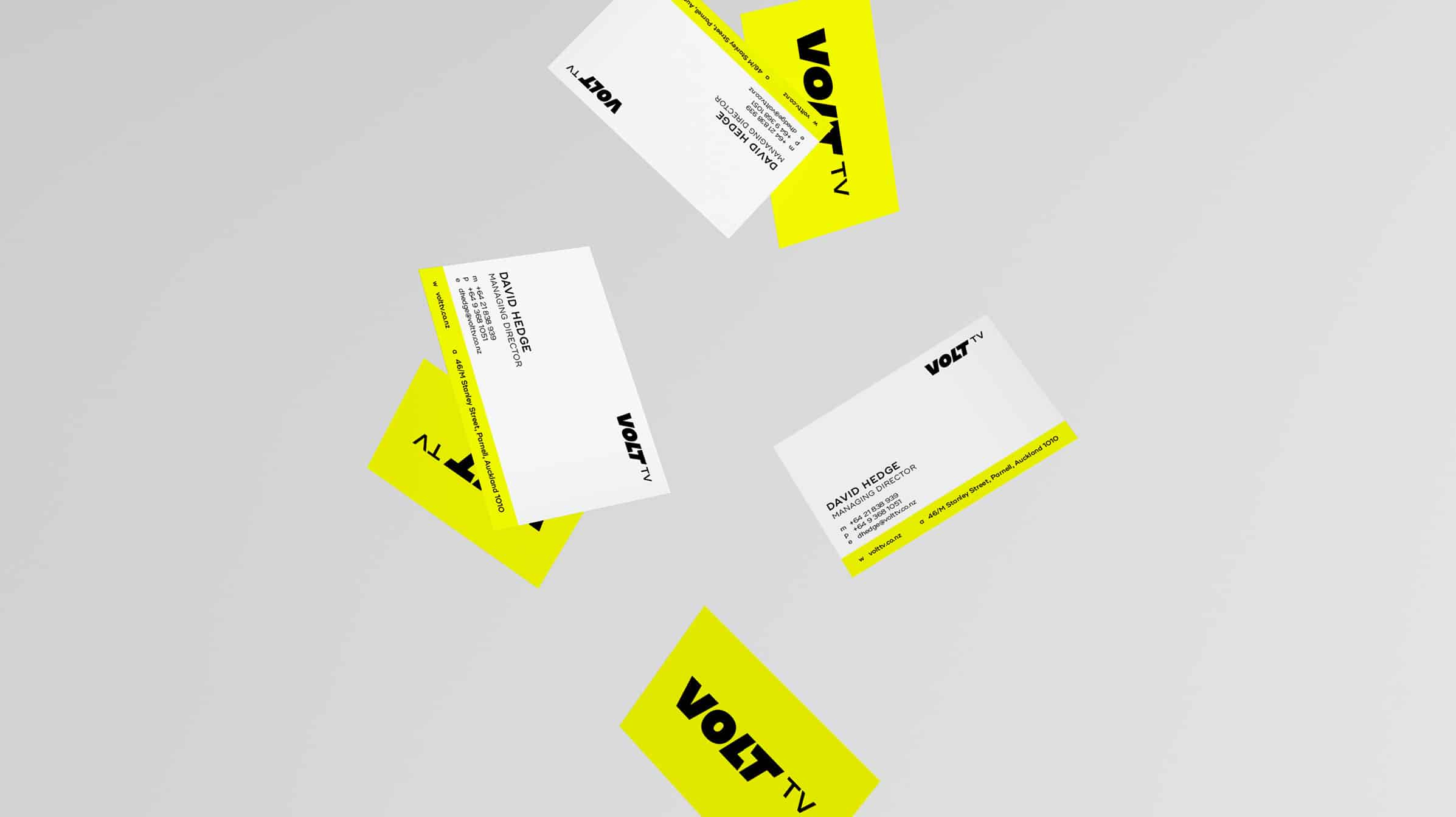 Bright yellow business cards