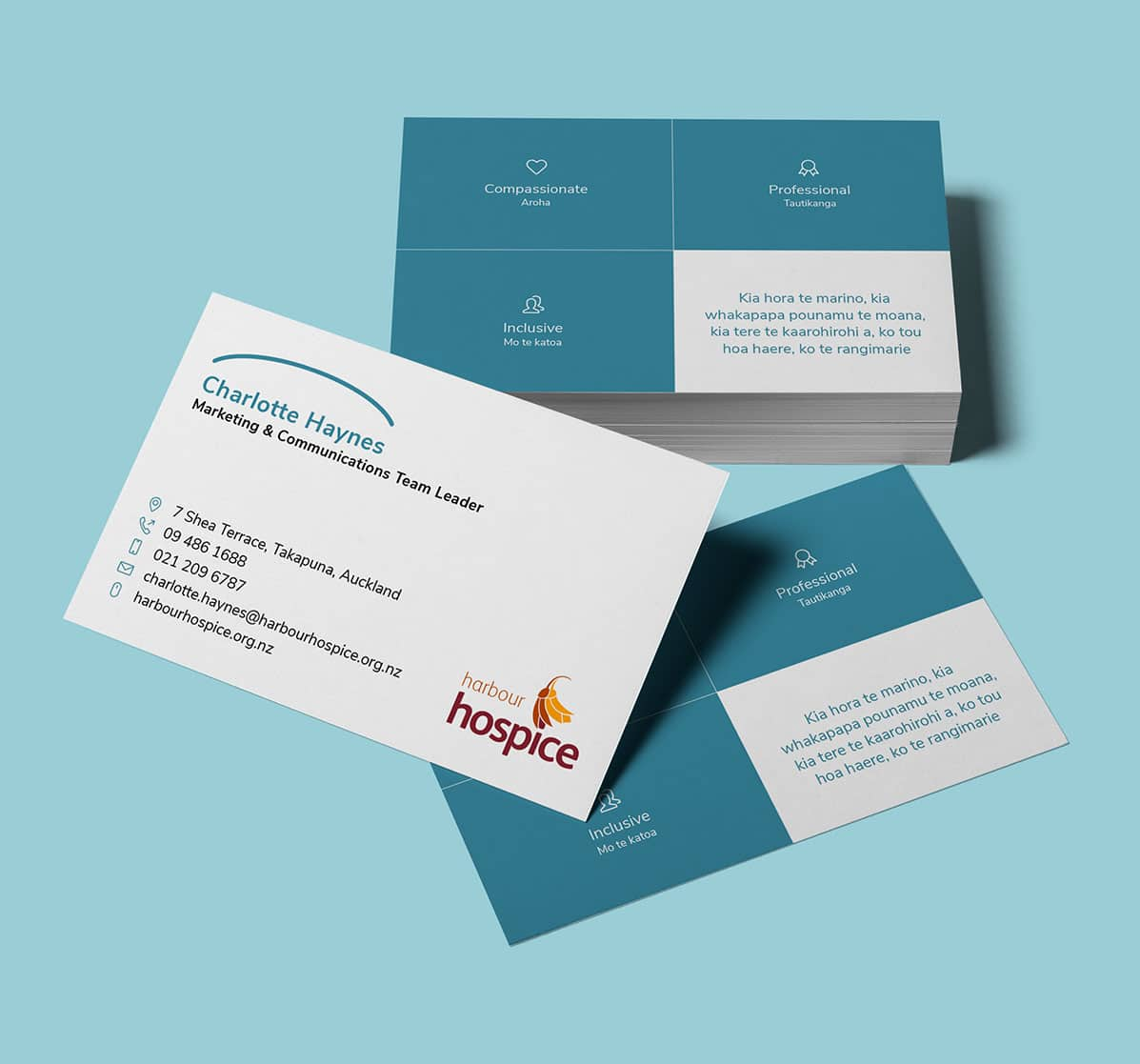 Company rebranding on business cards