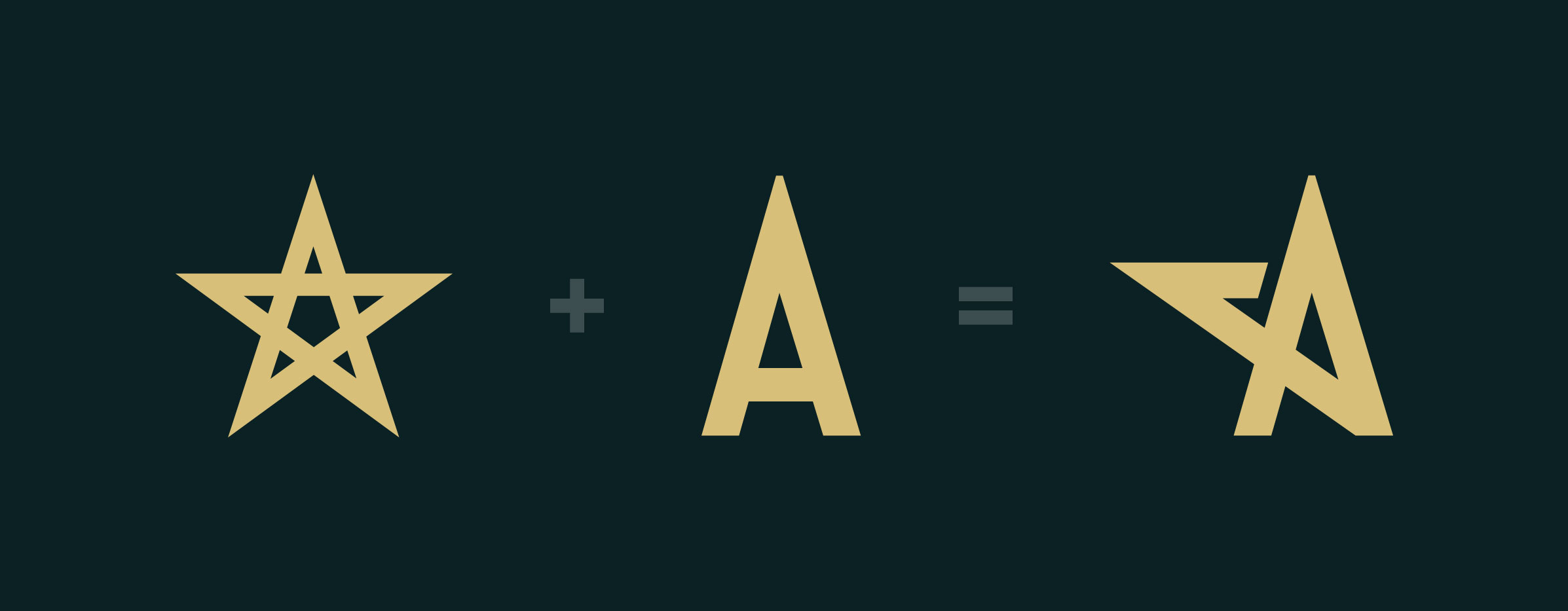 Progression of a star logo for the letter a