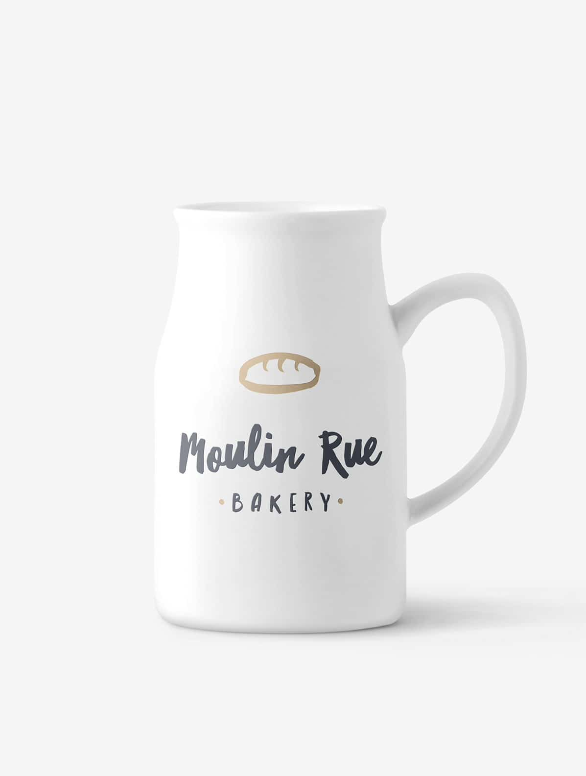 Branded milk jug for a cafe