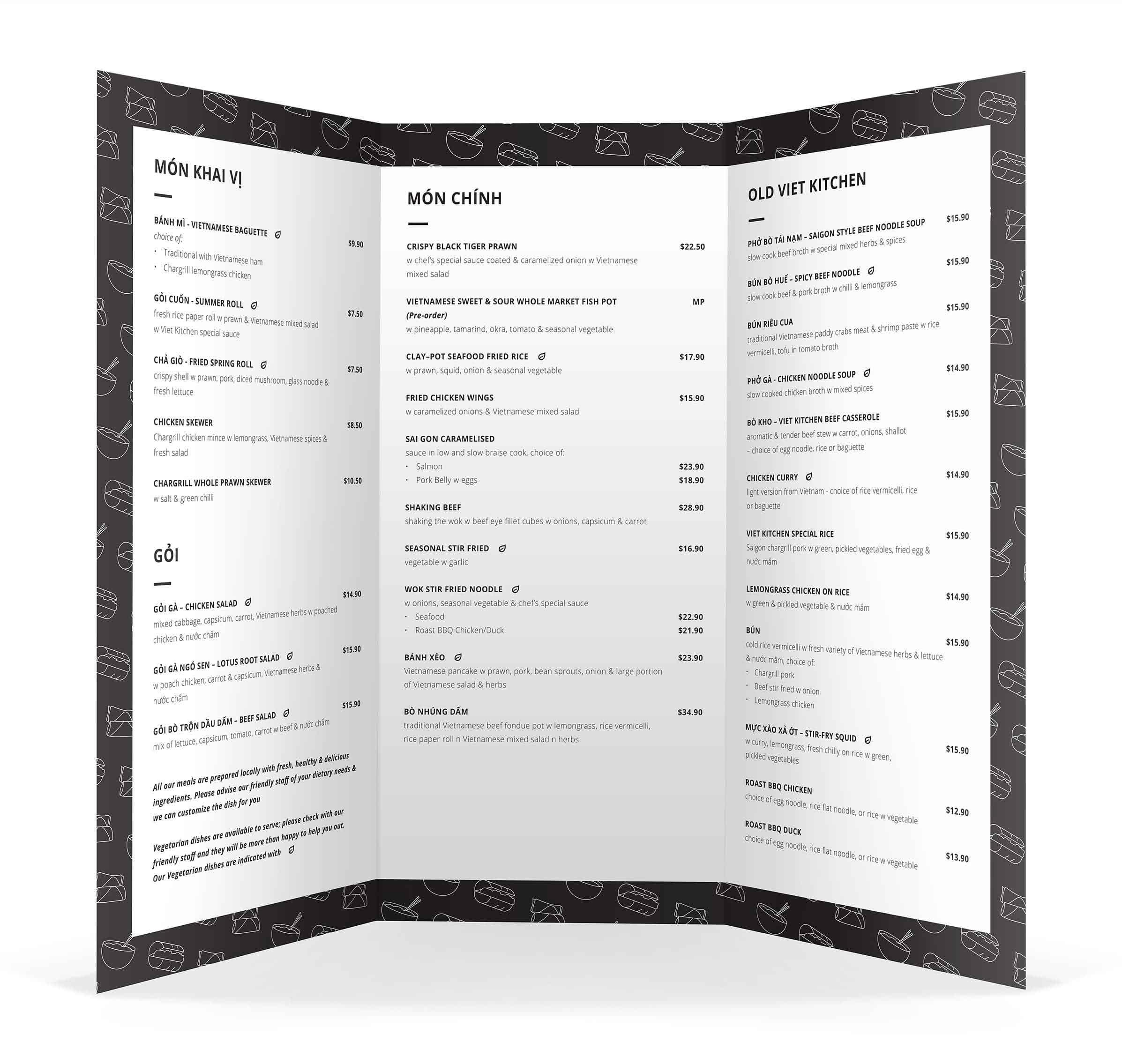 Restaurant menu design in NZ