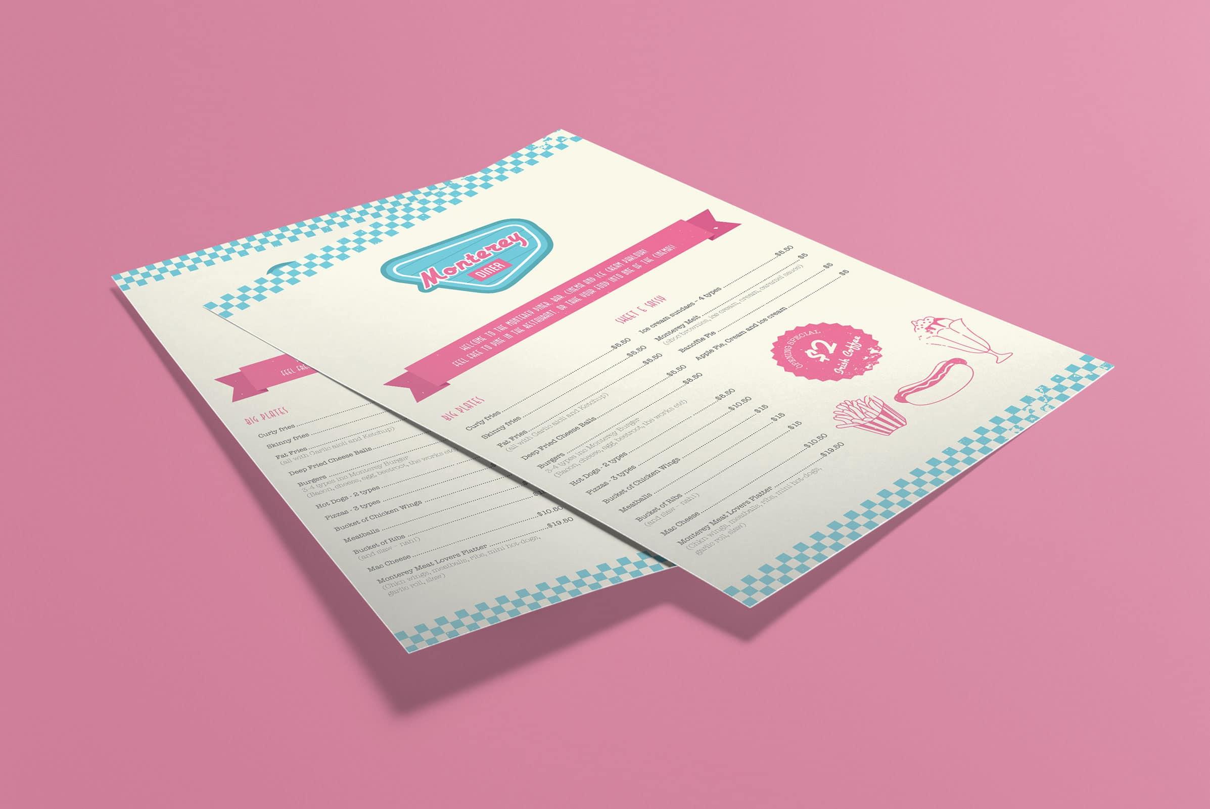 Retro menu design Auckland