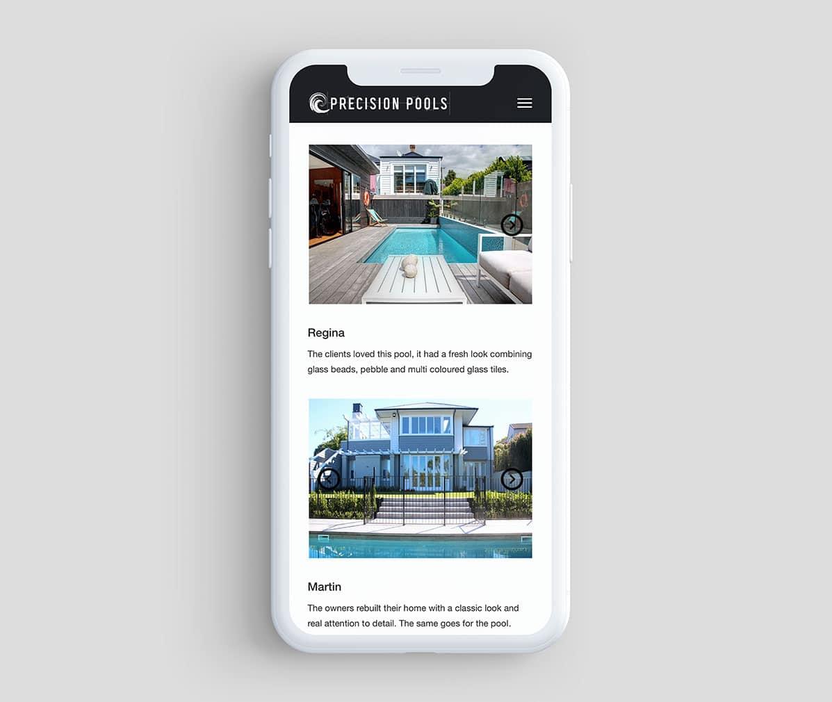 Smartphone optimised website design