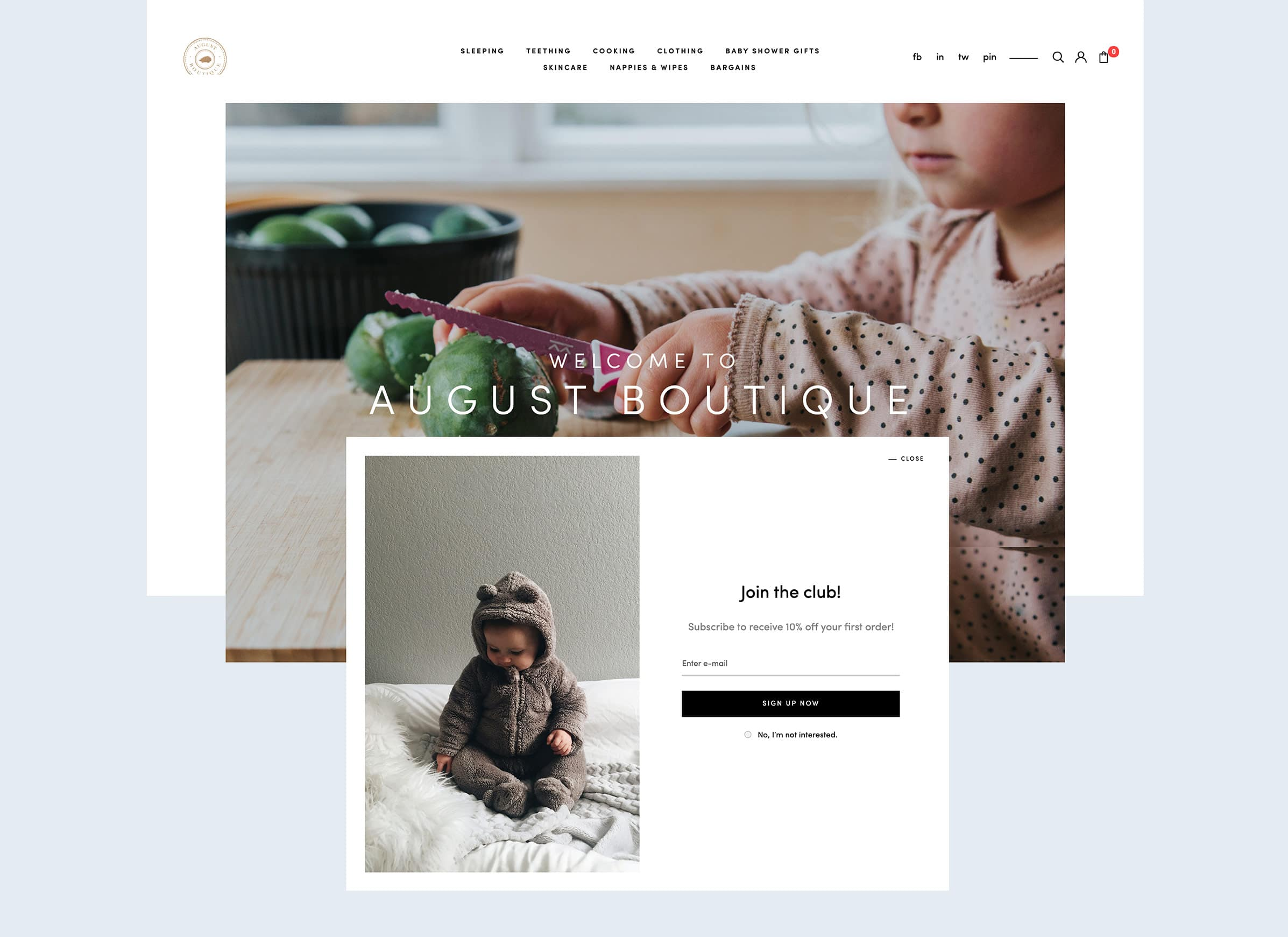 Baby products website design