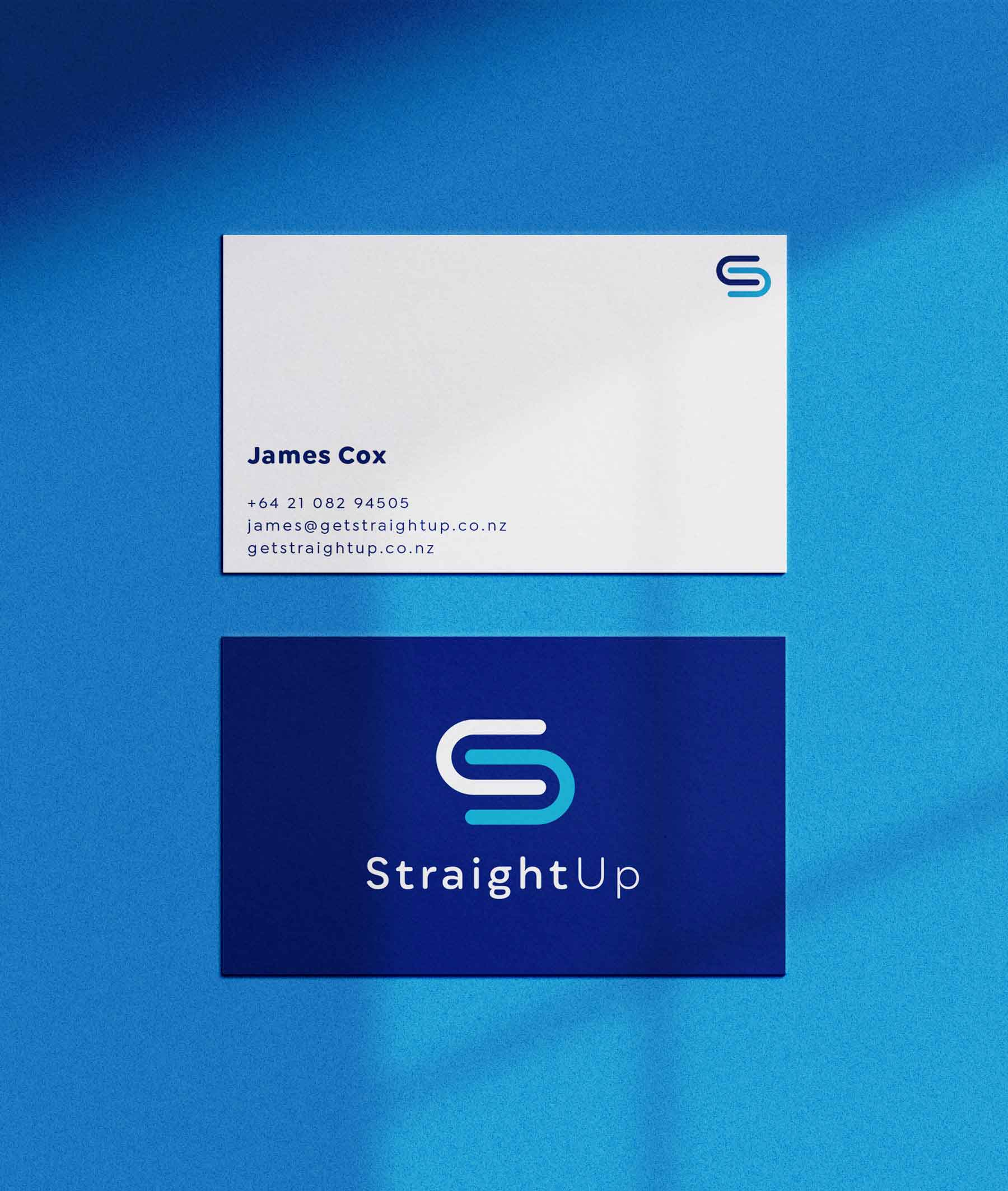 Modern blue and white business cards