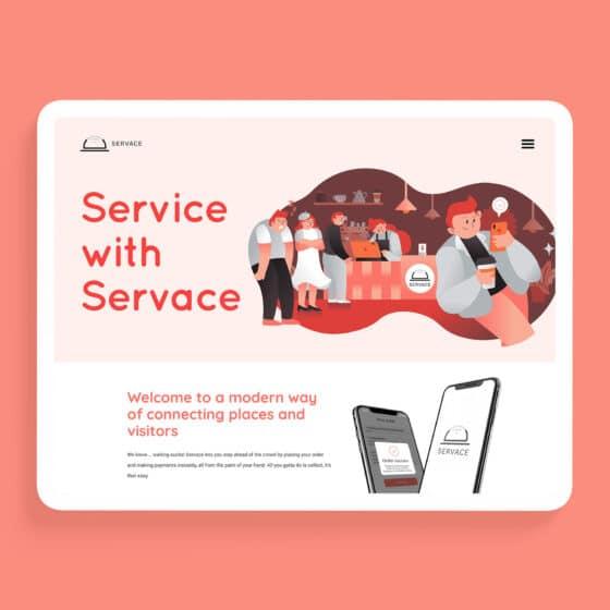 Illustrated website design for food delivery app