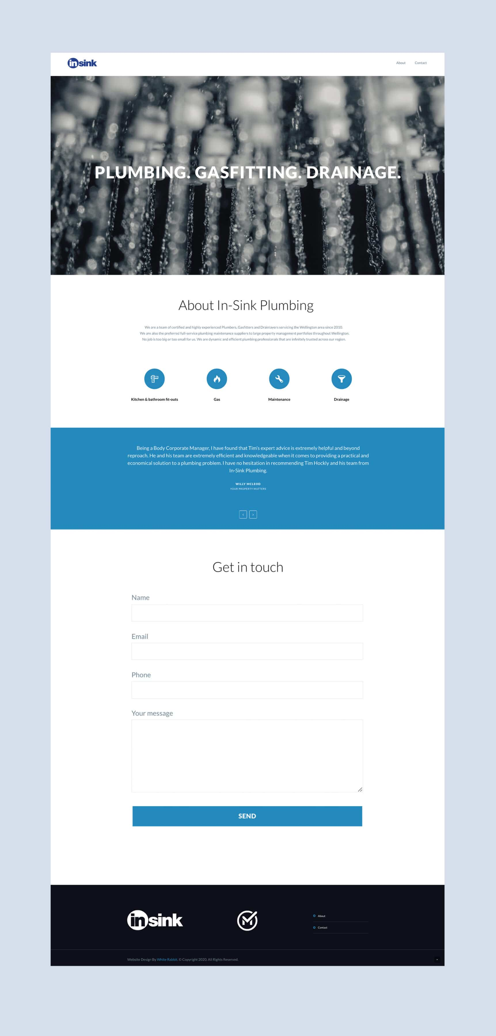 Plumber one page website design