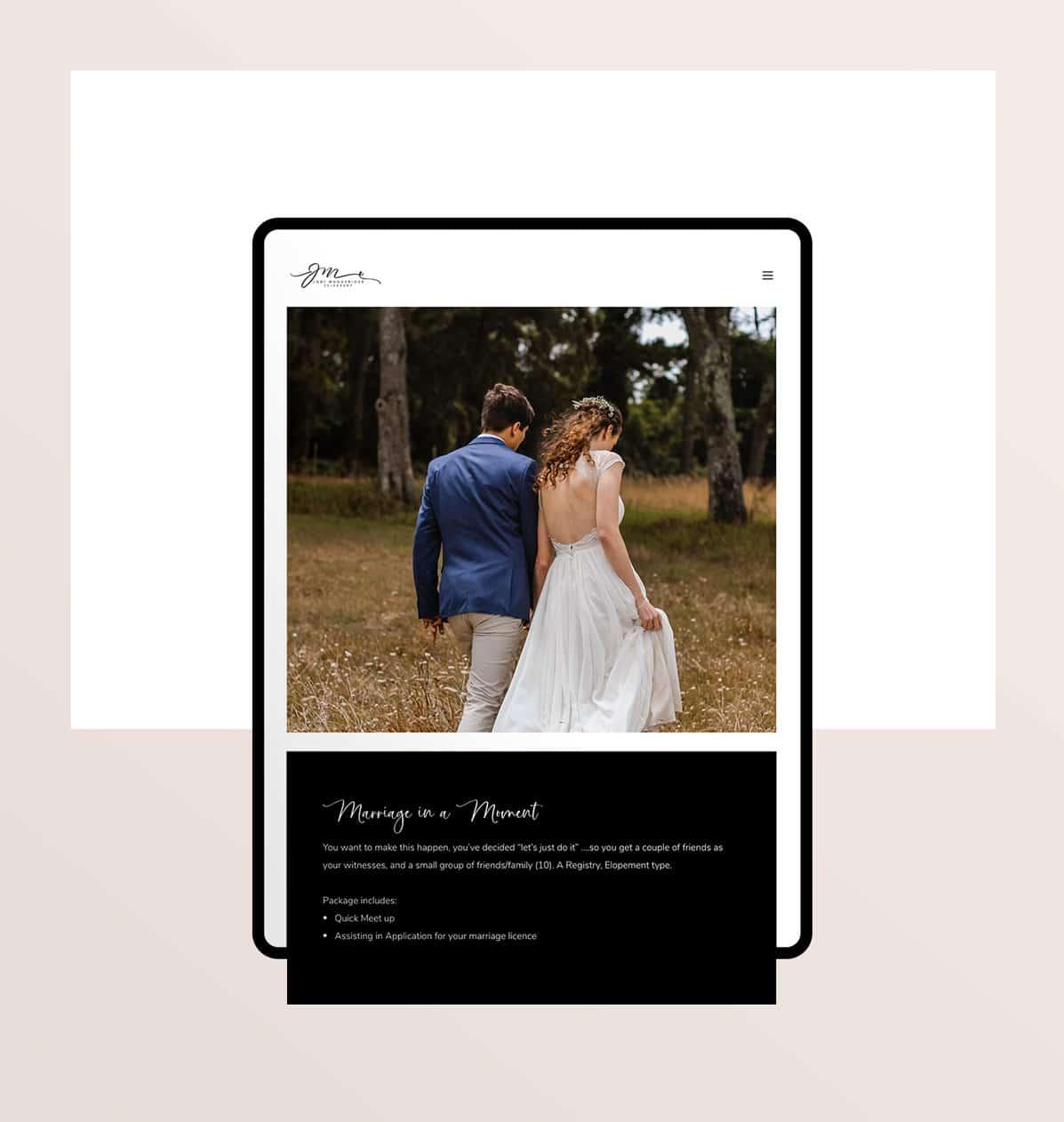 Modern website design for celebrant in NZ