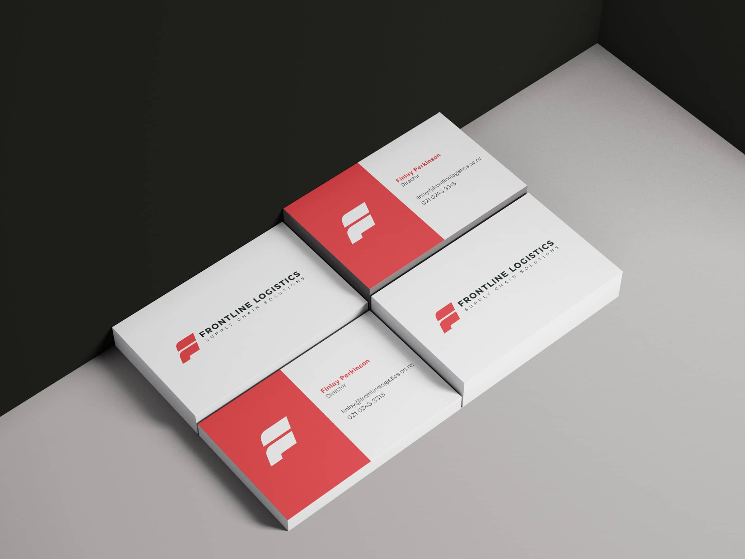Red and white business cards for Freight company