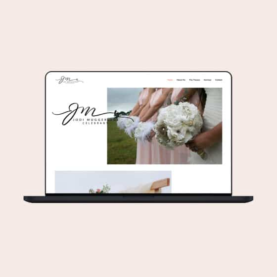 Marriage celebrant website design with lots of white space and floral imagery