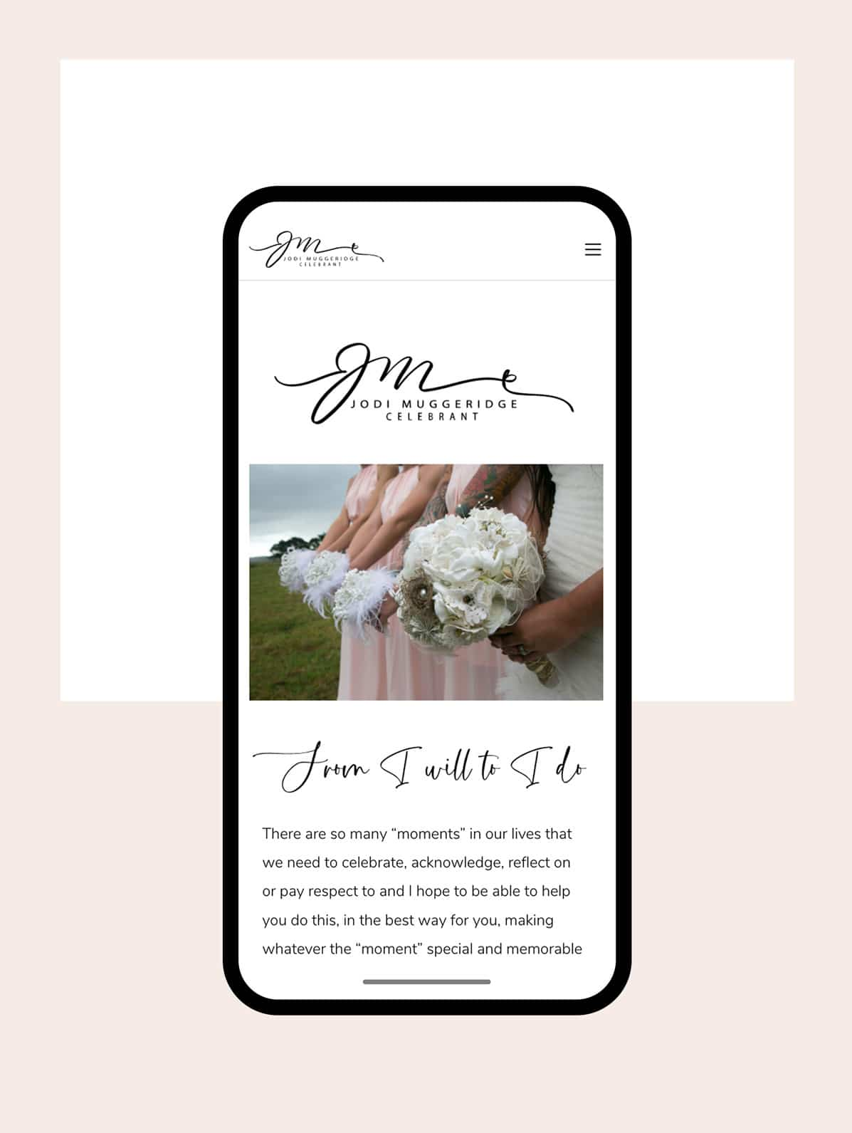 Clean, celebrant website design with script style fonts