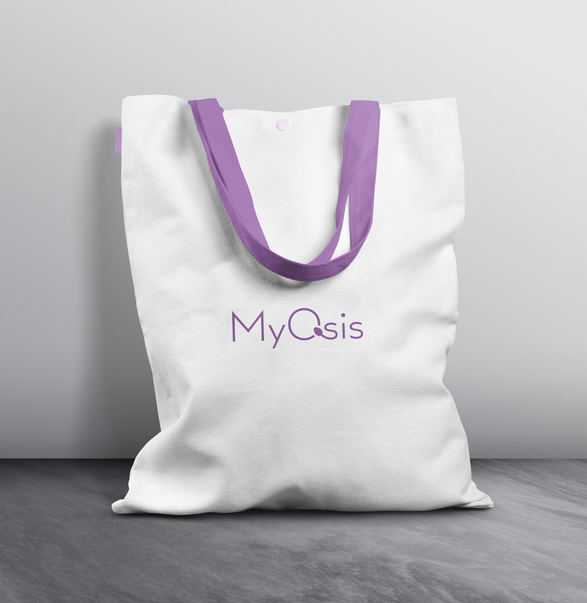 White and purple branded tote bag