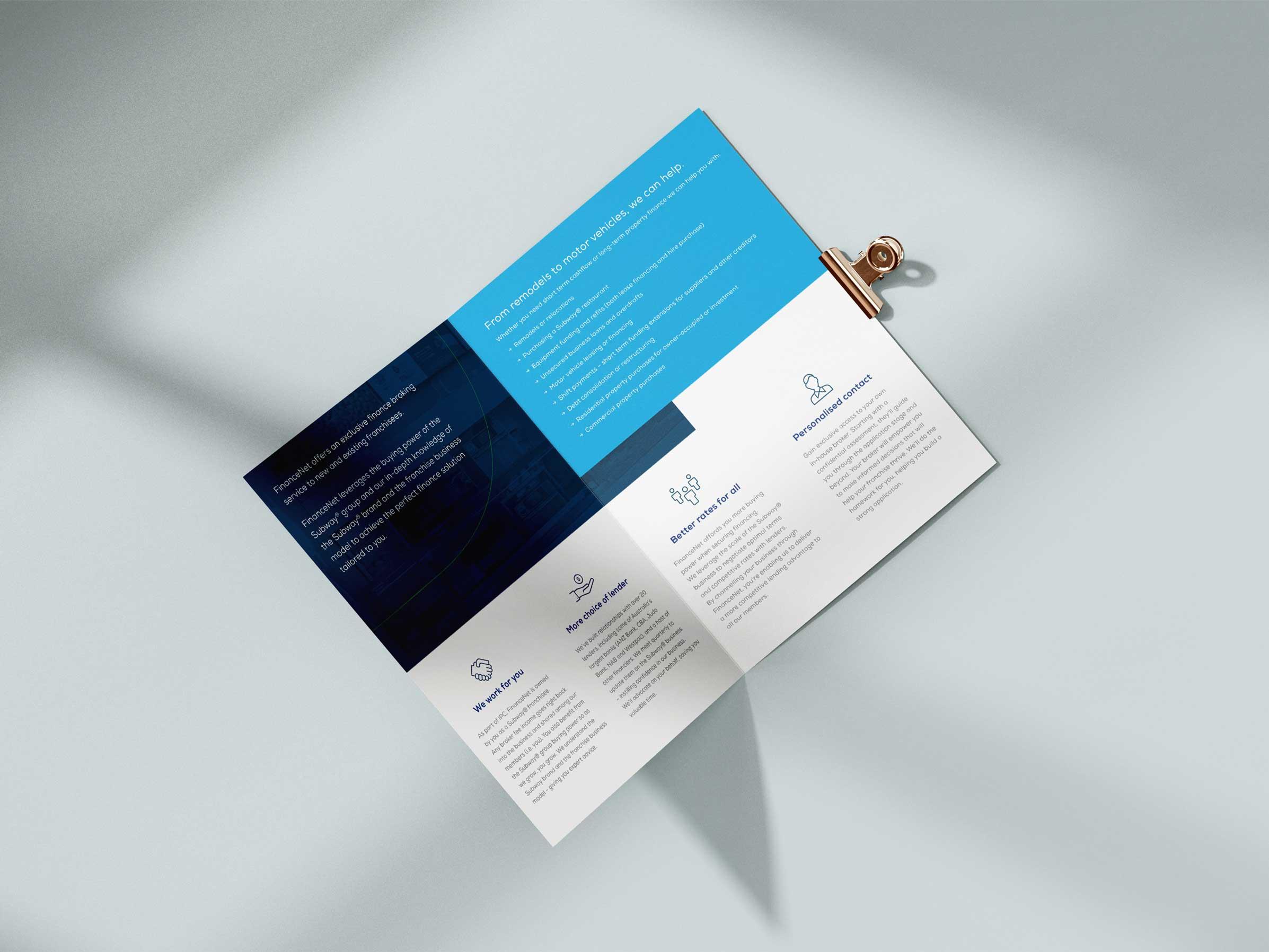 Finance bifold brochure open