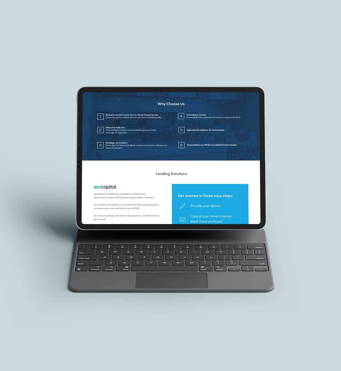 Finance services website design in blue and white
