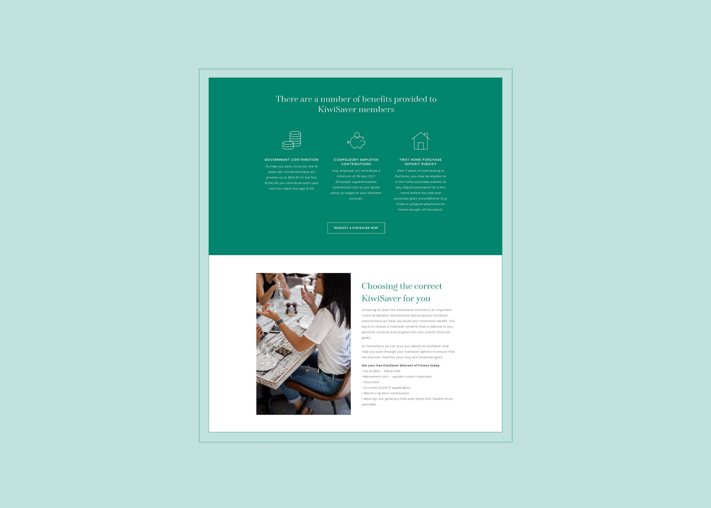 Green and white website design for insurance brokers