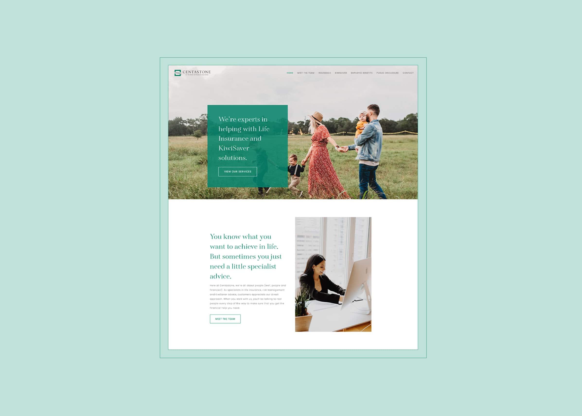 Modern minimal insurance company website design