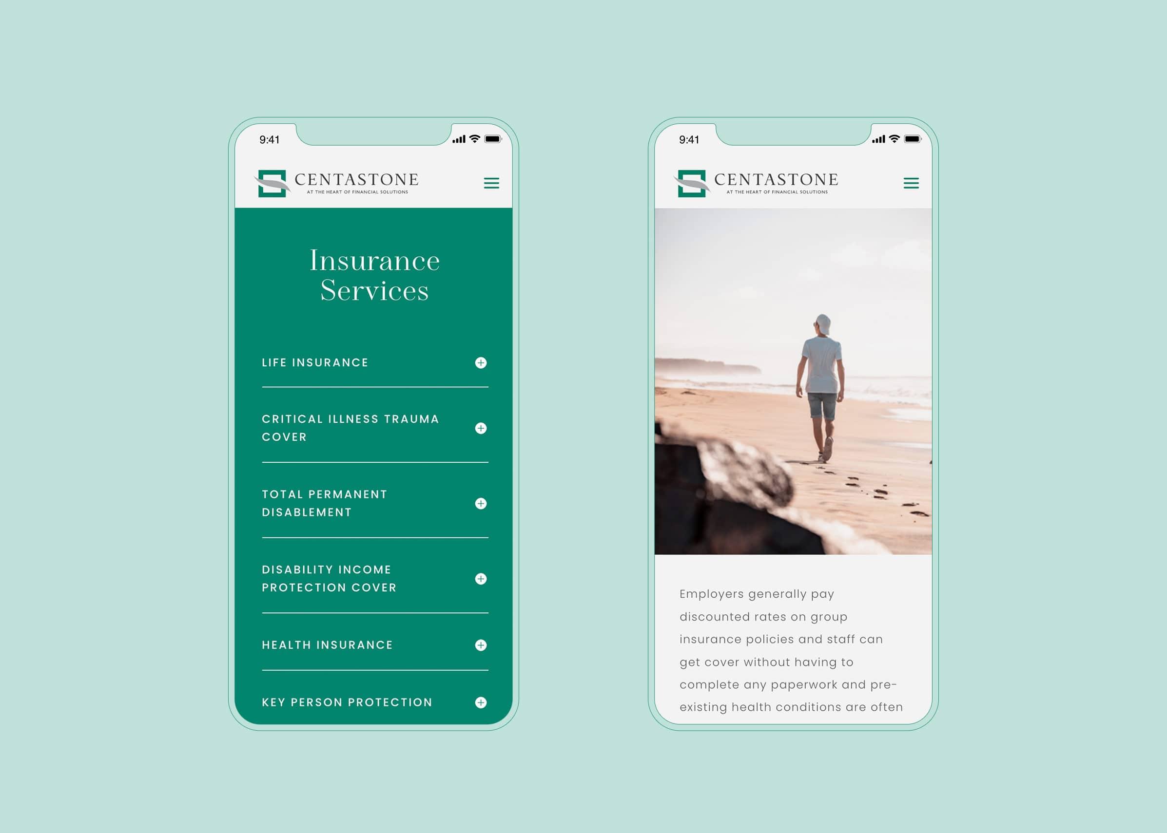 Life insurance website design on mobile device