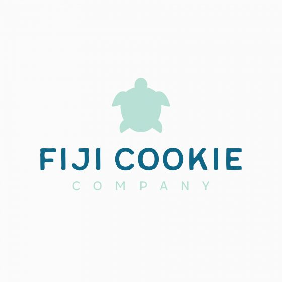 Cookie company logo design with turtle and handcrafted font